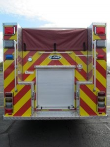 North Amherst Fire Co. - Stainless Steel Side-Mount Pumper - Rear View