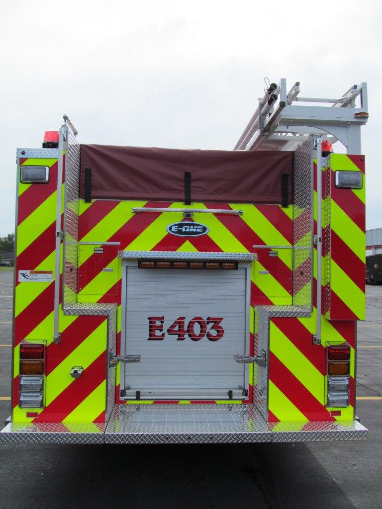 McKean Hose Company, PA new E-ONE Top Mount Pumper - Rear View