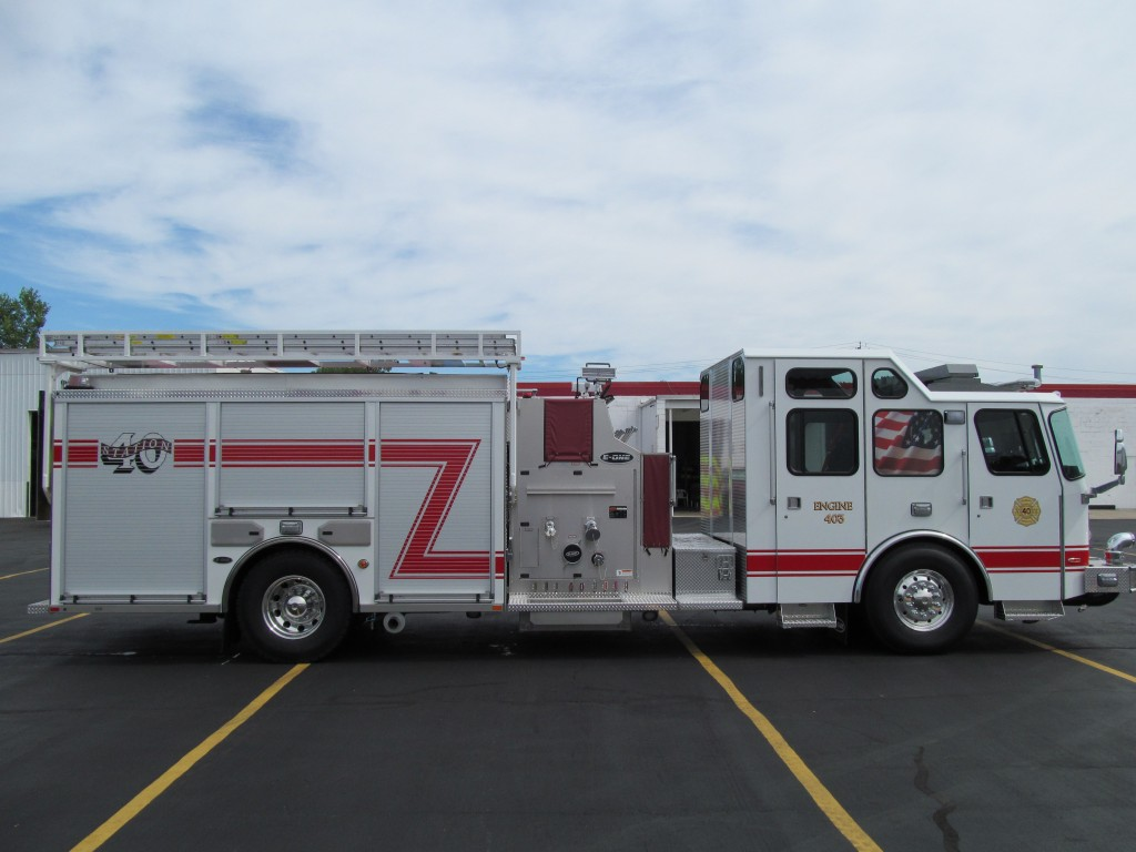 McKean Hose Company, PA new E-ONE Top Mount Pumper - Officer side