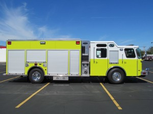 Dyer, Indiana Fire Department - Stainless Steel eMax rescue pumper - Officer side