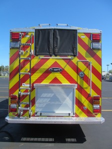 Dyer, Indiana Fire Department - Stainless Steel eMax rescue pumper - rear view