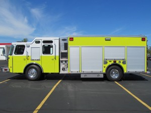 Dyer, Indiana Fire Department - Stainless Steel eMax rescue pumper - Driver side