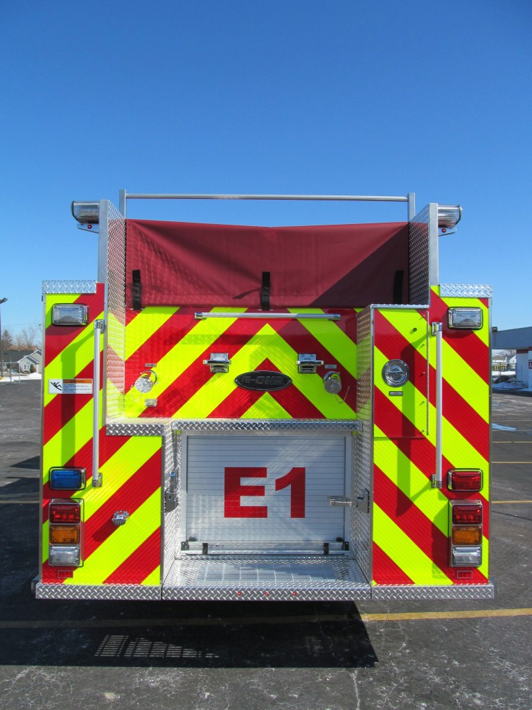 West Seneca ENG 1 E-ONE Stainless Top Mount Pumper - Rear View