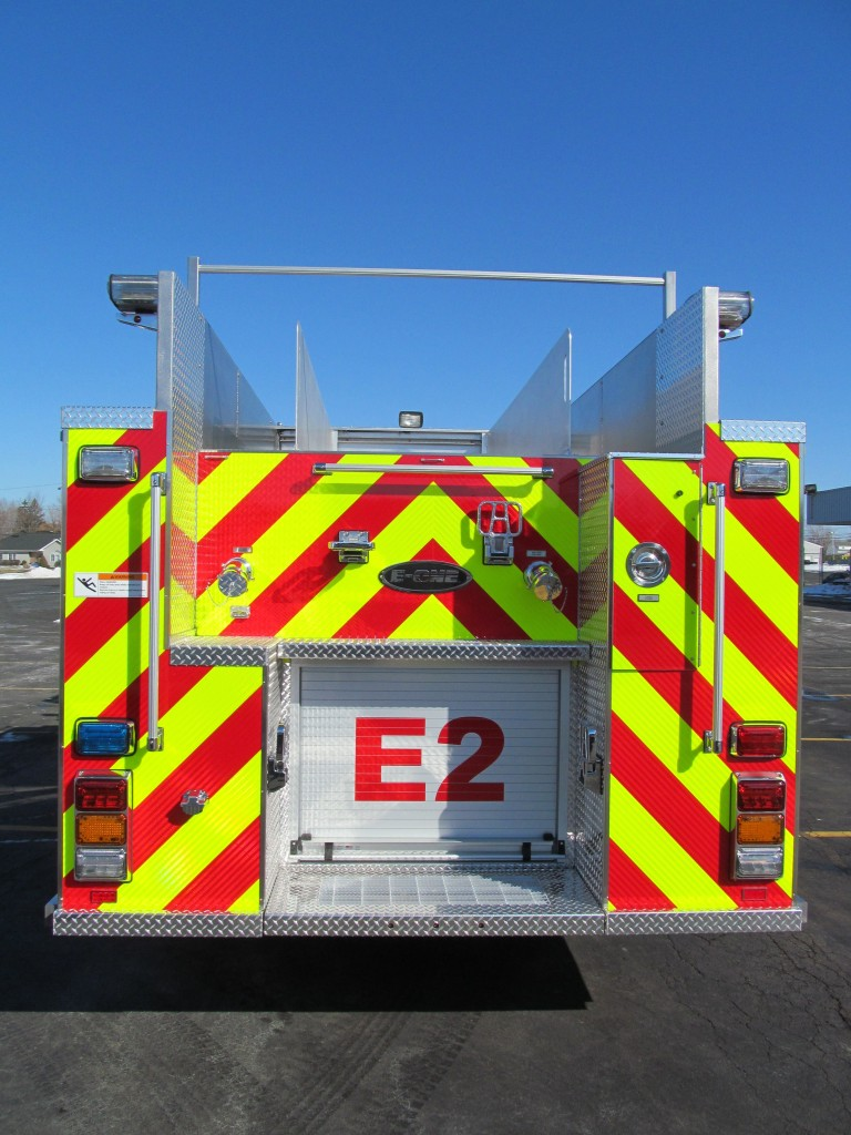 West Seneca ENG 2 E-ONE Stainless Top Mount Pumper - Rear View