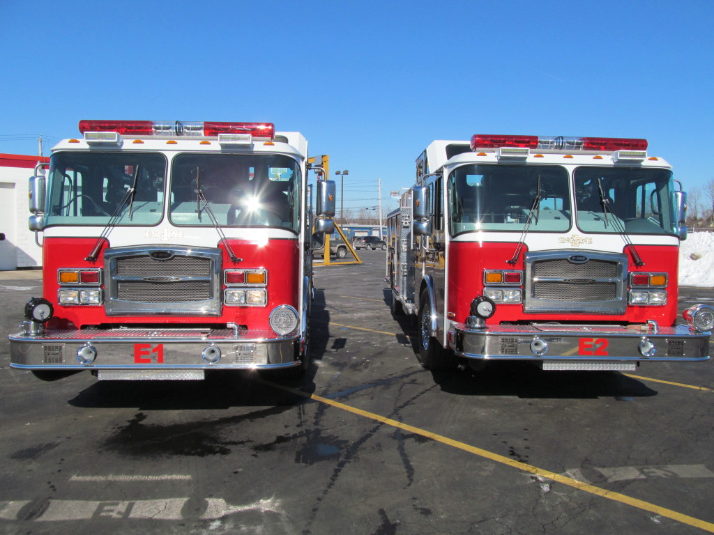 Front view - West Seneca Stainless Top Mount Pumpers by E-ONE Hamburg, NY